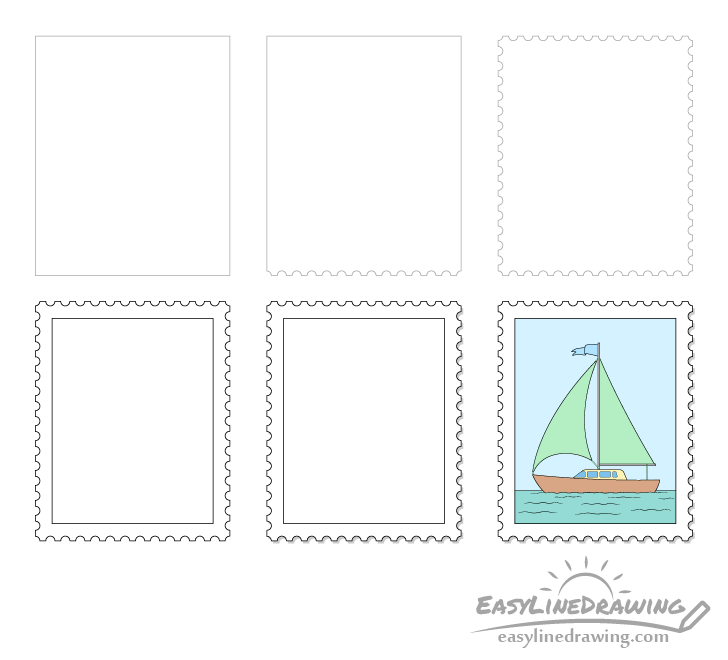 Stamp drawing step by step