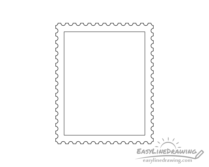 Stamp line drawing