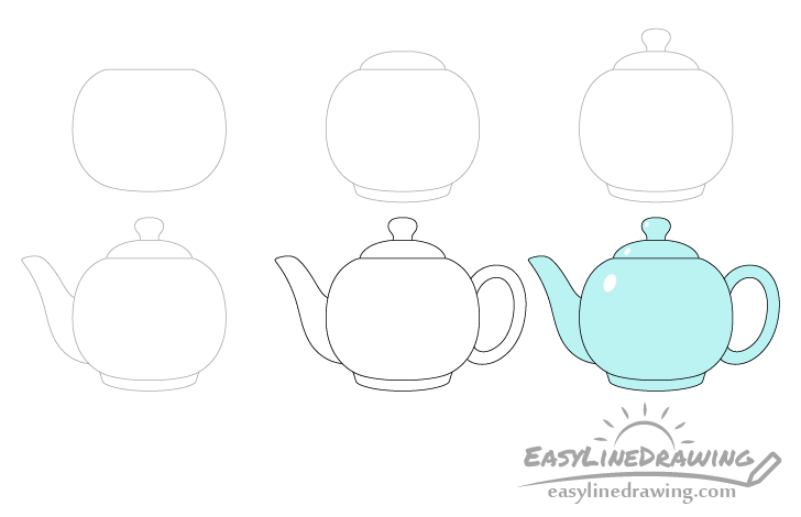 Teapot drawing step by step